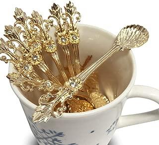 LINFON 8Pack Mini Spoons Set Gold Vintage Orris Pattern Carved Coffee Tea Spoon Mini Ice Cream Scoop