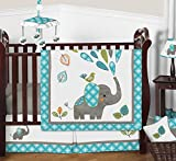 Turquoise Blue Gray and White Mod Elephant Girl or Boy Baby Bedding 11 Piece Crib Set
