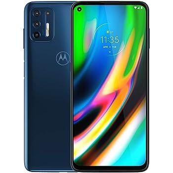 "Moto G9+ Plus (128GB, 4GB) 6.84"" FHD+, 5000mAh Battery, Snapdragon 730, 4G LTE GSM Factory Unlocked (AT&T, T-Mobile, Metro, Straight Talk) International Model, XT2087 (Dark Blue, W/ 64GB SD Bundle)"
