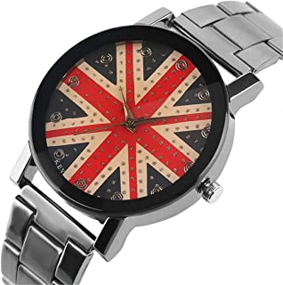 England The Union Jack Watch Bling Crystal Face Wristwatches Woman's Girl's Watches Stainless Steel Clocks