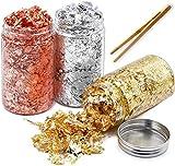 Fiocchi di Foglia d'oro per doratura,3 Bottiglia Lamina d'oro Imitazione Rame Genuino,Imitazione Metallizzata per doratura, Pittura Artistica, Unghie Artigianali e Fai da Te(Oro + Argento + Oro Rosa)