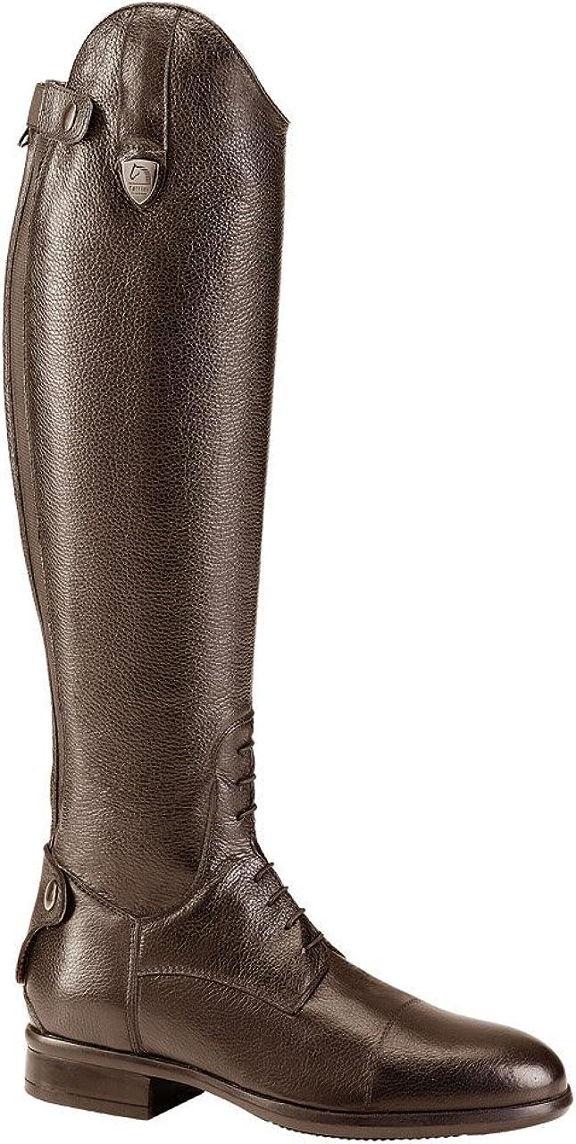 TATTINI Bottes cavali/ères hautes en cuir grain/é breton /à lacets taille S