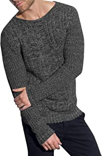 Eastlife Mens Sweaters Slim Fit Cable Knitted Pullover Casual Crew Neck Long Sleeve Sweater