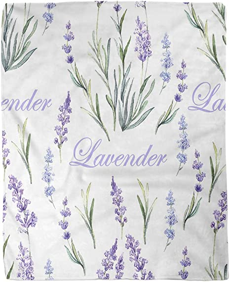 Watercolor Throw Blanket Lavender Made in USA Lightweight Spring Summer Decor Gift Living Room Birthday Present Decorative