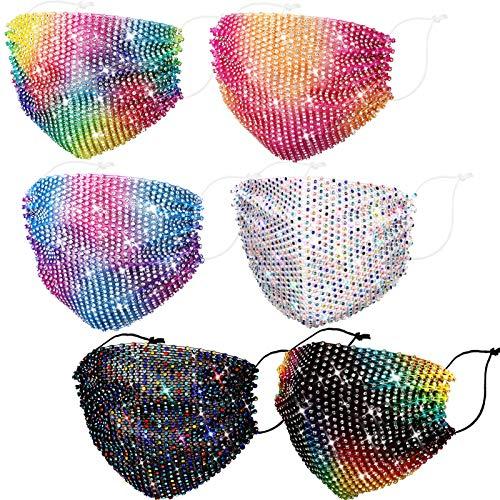 6 Pieces Shiny Rhinestone Mesh Mask Multicolor Crystal Masquerade Face Mask (Rainbow Color)
