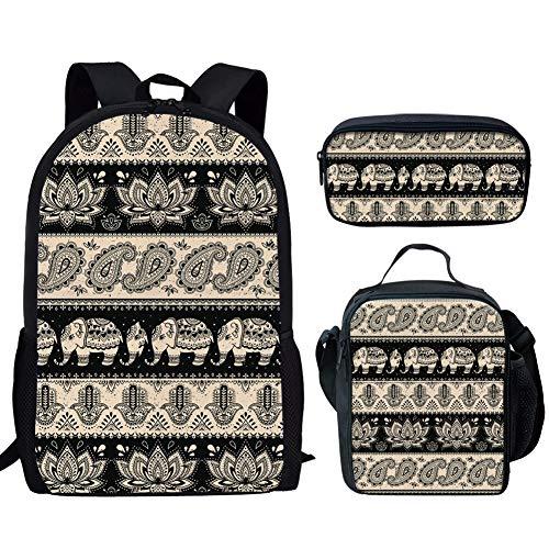 Binienty Juego de bolsas escolares 3 en 1, mochila con doble cremallera+lonchera+estuche para lápices para niños y niñas, Elefante indio. (Multicolor) - CGK