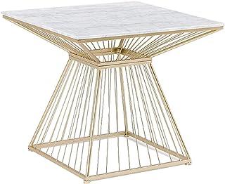 NATUO-Tables de Meubles Fer Art Café Table Thé Table, avec Cadre en Métal Et en Marbre, De Forme Carrée, Haute Température...