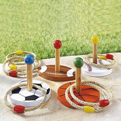 Ring-Wurfspiel, 12 Teile, Freizeitspaß, Gartenspiel, mit Ringen, Geschicklichkeitsspiel, 4 Spielstäbe aus Holz, Spielzeug, Wurfring, Holz, Sackleinen