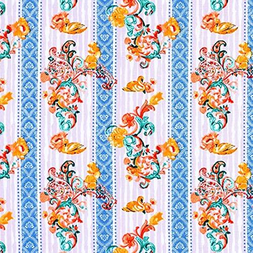 Dekostoff Cretonne Patrón de jacquard de colores – lila/azul grisáceo pálido — Mercancia al metro a partir de 0,5m — Oeko-Tex Standard 100 Clase del producto I — para coser de Manteles y Mantas