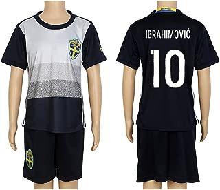 2016 UEFA Euro #10 Ibrahimovic Black Away Kids Soccer Jersey & Short Kit Set