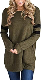 Womens Tops Sexy Long Sleeve Solid Comfort Blouse Long T-Shirt with Stripe
