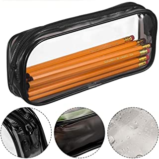 ペンケース DreamColor大容量鉛筆ケース 多機能PVC収納ケース 勉強用整理 (ブラック)