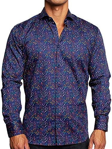 Maceoo Mens Designer Dress Shirt LS - Stylish & Trendy - Einstein Candy Rain Black - Shaped Fit