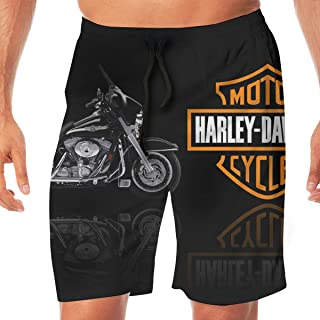 REBELN Men's Harley Davidson Logo Mens Summer Swim Trunks Quick Dry Funny Beach Board Shorts Casual Pants Printing