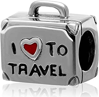 I Love To Travel Charm 925 Sterling Silver Suitcase Charm with Red Enamel Heart Travel Luggage Charm for Bracelet