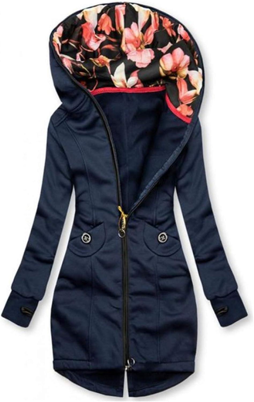 Onsoyours Damen Wintermantel Warm Slim Fit Kordelzug Parka Jacke Lässig Frauen Mantel mit Kapuze Reißverschluss Mantel Outwear Kapuzenpulli D Dunkelblau