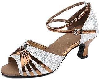 XFentech Peep Toe Criss Cross Strap Metal Buckle Women's Ballroom Dancing Latin Dance Shoes