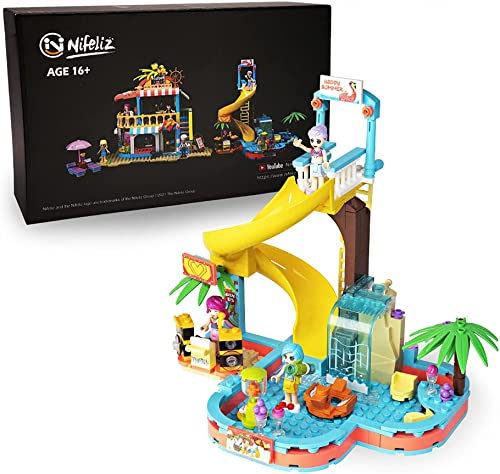 wholesale Nifeliz Friends Summer Holiday S-Girls Theme Heart Shaped 2021 Pool Water Park Building Kit, Comes with 3 Mini-Dolls and a Coconut Tree, high quality Gift for Girls and Adults, New 2021 (257 Pcs) outlet online sale