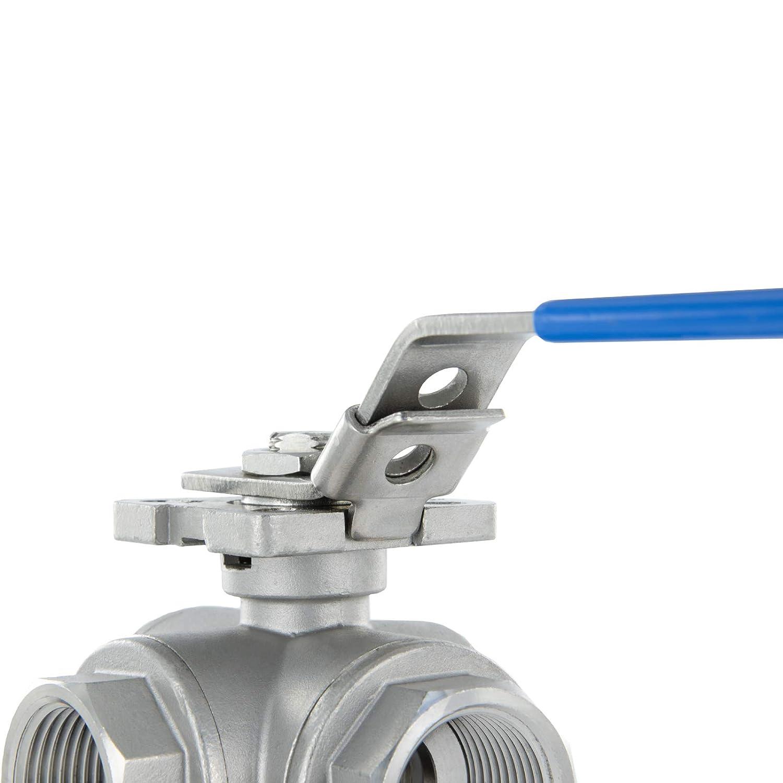 industriale commerciale. filettatura interna maniglia a leva 1 Valvola a sfera a tre vie tipo T valvola di regolazione per casa rubinetto di chiusura ideale valvola di intercettazione
