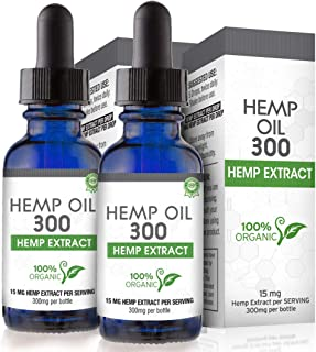 Hemp Oil for Pain, Anxiety & Stress Relief - 600mg (2 Pack) - 100% Organic Hemp Extract Drops - Natural Anti-Inflammatory,...