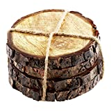 Thirstystone Urban Farm Round Mango Wood Bark Coasters (Set of 4), Brown