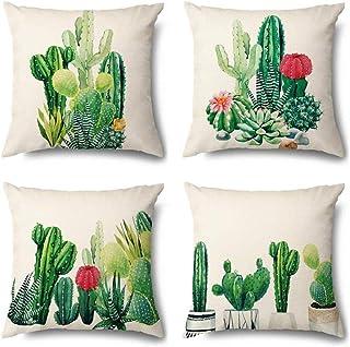 IUYJVR Juego de 4 Fundas de cojín 45 x 45 cm Funda de Almohada Decorativa de algodón y Lino Fundas de Cojines para decoración del hogar del sofá del Coche-Cactus 500