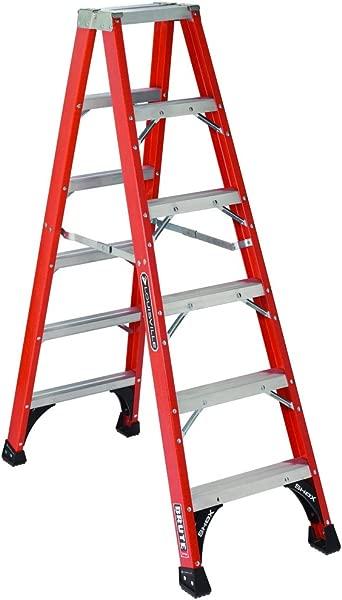 Louisville Ladder FM1406HD Fiberglass Twin Front Ladder 6 Feet 375 Pound Duty Rating