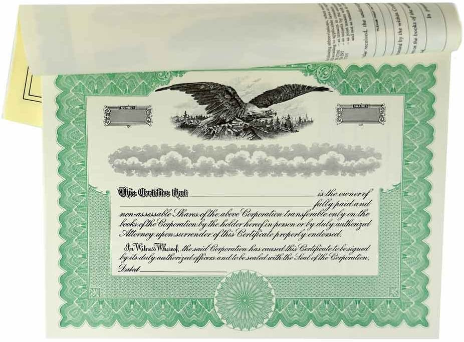 Blank Stock Certificates with Corporation; Stubs Challenge the lowest price of Japan Green Discount mail order for