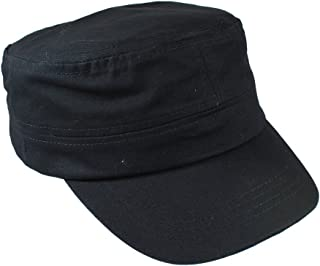 Gelante Cadet Caps 100% Breathable Cotton Plain Flat Top Twill Militray Style with Adjustable Strap.