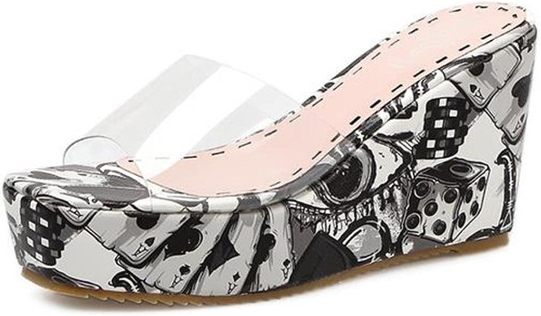 IDIFU Women's Stylish Graffiti High Wedge Heels Platform Clear Slippers Sandals