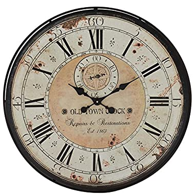 Deco 79 32  Round Rustic Black Iron & Wood Antique Roman Numeral Wall Clock