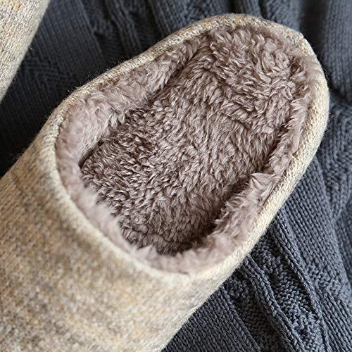 [静石盧]スリッパ暖かいボアスリッパふわふわ冬室内北欧メンズレディース綿柔らかい洗える滑り止め静音防水(L,ブラウン)