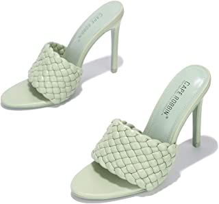 كيب روبين أنسون نسج الكعب العالي للنساء، مربع مفتوح اصبع القدم أحذية الكعب, (Sage), 39 EU
