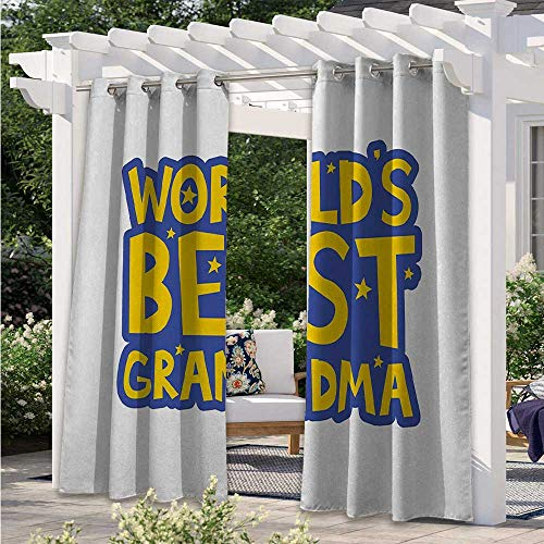 Indoor/Outdoor Curtains Quote About Grandmothers with Letters Stars Uplifting Illustration Home Fashion Window Panel Drapes for Patio, Pergola, Porch, Deck, Lanai, and Cabana Violet W108 x L84 Inch