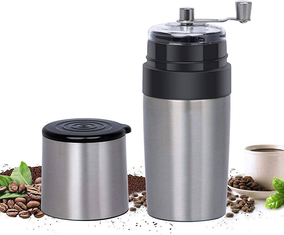 Travel Coffee Grinder Set Eastmount All In One Portable Manual Grinder Brew Coffee Maker Adjustable Coffee Bean Mill With Stainless Steel Body Easy Hand Crank 400ML Silver