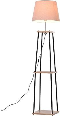 HOMCOM Leuchtst/änder mit 3 Regalen Metall Beige Leinen Stehlampe 40 x 40 x 160 cm Schwarz Natur Kautschukholz