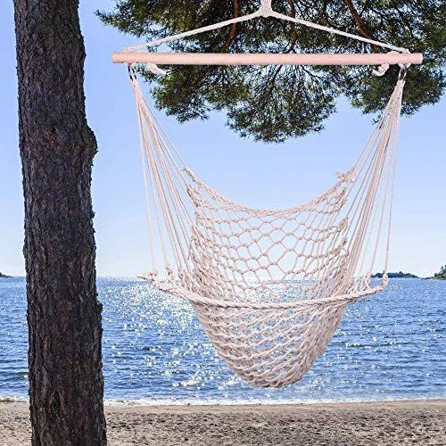 HUIPPY Cuerda de algodón colgante de aire/cielo silla columpio beige
