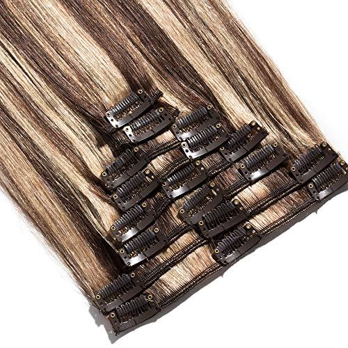 Extension a Clip Cheveux Naturel Cheveux Humain - Rajout Cheveux Naturel 8 Pcs Volume Fin (#4+#27 Mix, 45 cm (70 g))