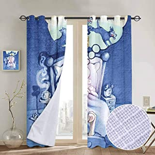 Surrealistic 100% blackout lining curtain Nightmare of A Sheep Counting Wolfs in Sleep Time Bed Caricature Image Full shading treatment kitchen insulation curtain W84 x L96 Inch Violet Blue Lilac