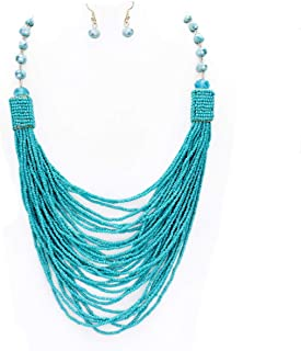 Uniklook Women Statement Layered Strands Colored Mini Seed Beads Beaded Chunky Fashion Jewelry Long Necklace Earrings Set Gift Bijoux