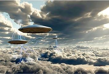 Leyiyi 10x8ft UFO Planet Arrive Backdrop Outer Space Creature Alien Travel Spacecraft Grunge Earth Western Rural Farmland Photo Background Cowboy Birthday Portrait Shoot Studio Vinyl Prop Wallpaper