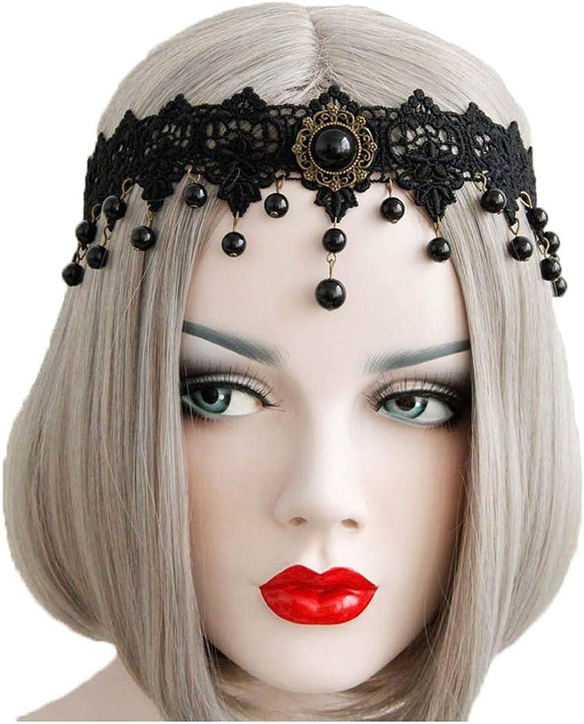 Barode Gothic Super intense SALE Lolita Max 68% OFF Black Lace Pearl Headband Vintage Halloween