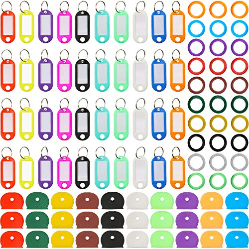 100 Pieces Key Caps Tags Covers Set Plastic Key Tag with Split Ring Label Window Key Identifier Rings Universal Key Covers Key Caps Labels for Key Organization 10 Colors 3 Styles