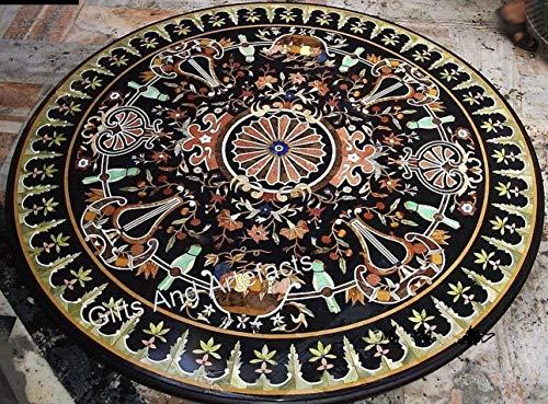Mesa de comedor de mármol de 48 x 48 pulgadas con incrustaciones de piedra multicolor para uso en la oficina de Heritage Art and Crafts