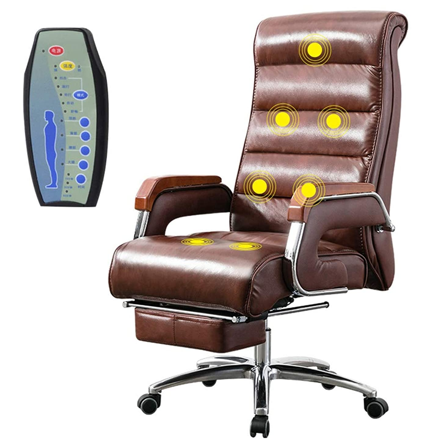 サロンに対処するゼリーエグゼクティブオフィスチェア格納式フットレストとロッキングチェア機能付き7ポイントマッサージ機能,brown