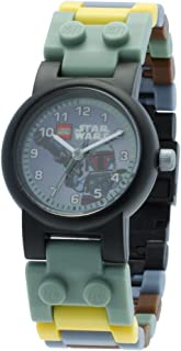 LEGO Star Wars 8020363 Boba Fett Kids Buildable Watch with Link Bracelet and Minifigure | Green/Gray | Plastic | 25mm Case Diameter | Analog Quartz | Boy Girl | Official