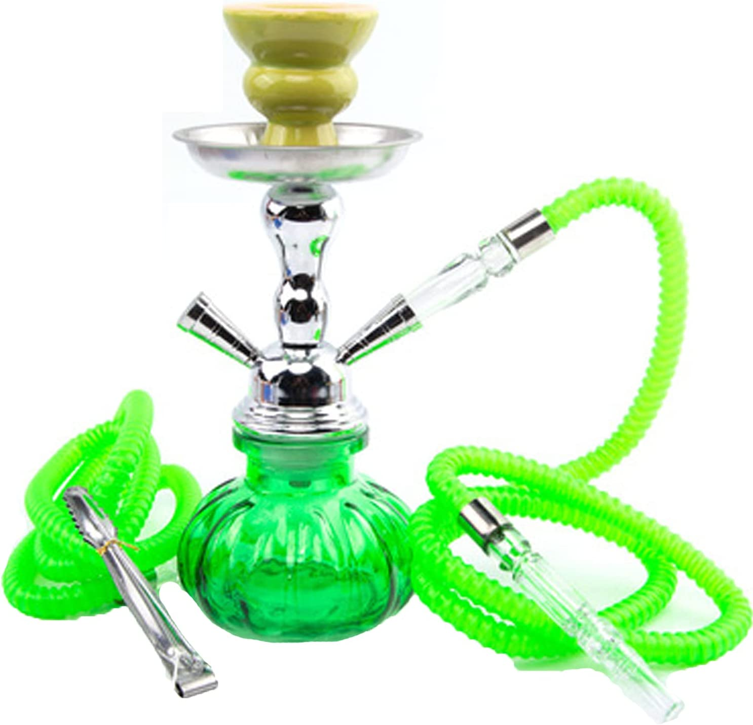 Khalil Mamoon - Juego de cachimba de pipa doble árabe, grifo portátil con pipa, cuenco para carbón, columna de humo, cuenco de carbón vegetal, cabezal de cerámica, 2 mangueras verdes