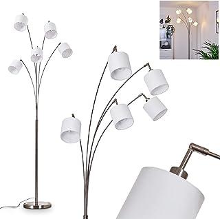 Lampadaire Alsen en métal nickel et tissu blanc, élégant luminaire design idéal dans un salon moderne, interrupteur sur le...