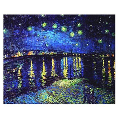 Legendarte Cuadro Lienzo, Impresión Digital - Noche Estrellada sobre El Ródano Vincent Van Gogh, cm. 40x50 - Decoración Pared