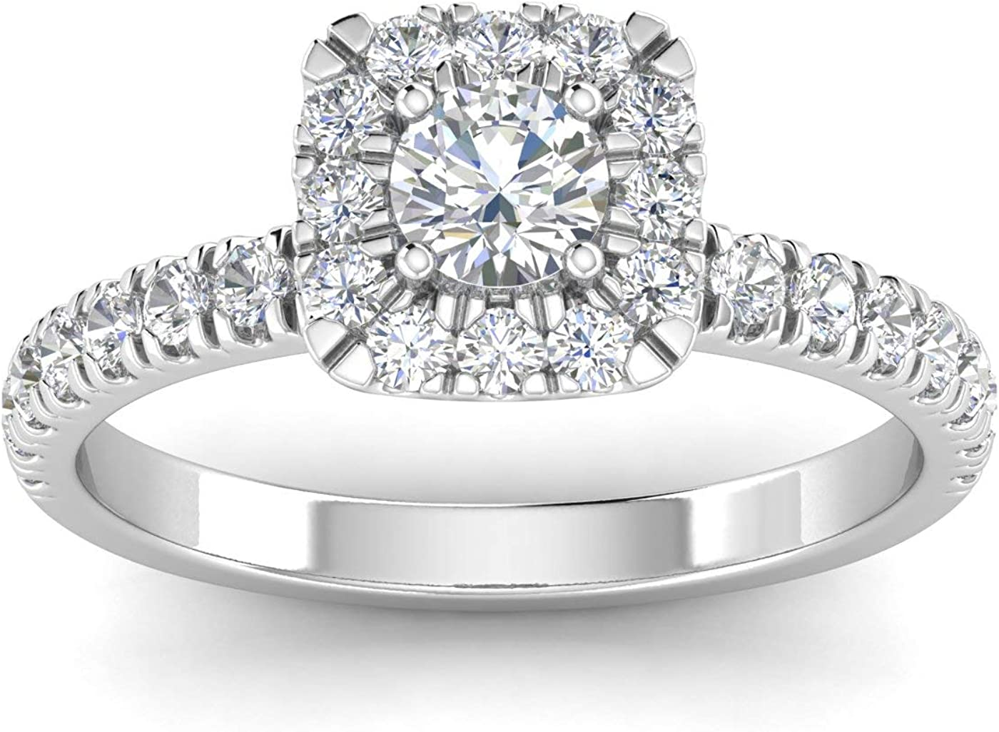 IGI Certified 1 Carat TW Natural Diamond Engagement Ring in 10k White Gold (H-I Color, I2-I3 Clarity)